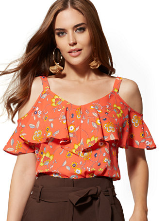 best selection of 2019 high fashion wide selection of colors Floral Ruffled Cold-Shoulder Blouse - 7th Avenue - New York & Company