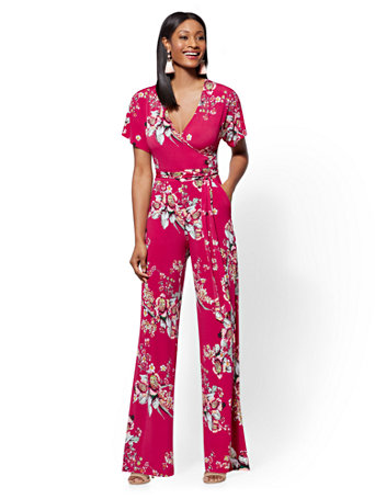 c8aa57ee4cf NY&C: Floral Wrap Jumpsuit