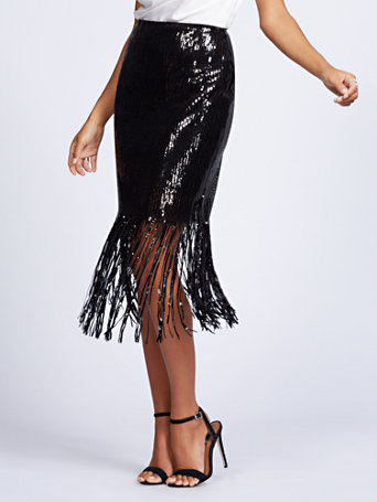 Gabrielle Union Collection   Black Sequin Fringe Pencil Skirt by New York & Company