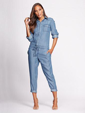 Nyc Gabrielle Union Collection Denim Jumpsuit Blue Flash Wash