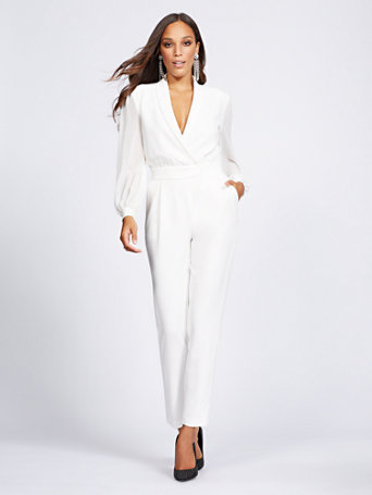 Gabrielle Union Collection   Ivory Wrap Jumpsuit by New York & Company