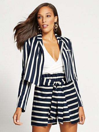 gabrielle-union-collection---navy-stripe-crop-jacket by new-york-&-company