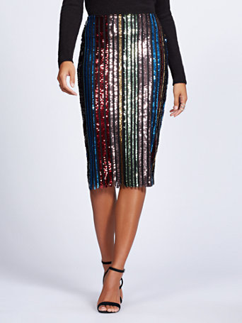 Gabrielle Union Collection   Petite Sequin Stripe Pencil Skirt by New York & Company