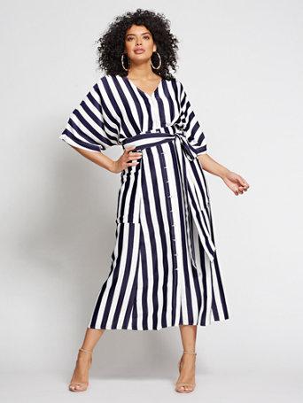 29911da9 NY&C: Gabrielle Union Collection - Plus Striped Kimono Dress