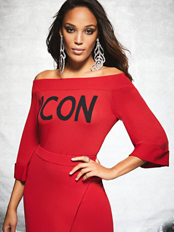 "Gabrielle Union Collection   Red Off The Shoulder ""Icon"" Sweater by New York & Company"