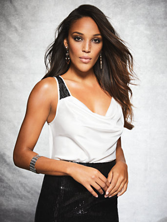Gabrielle Union Collection   Sequin Accent Satin Tank Top by New York & Company