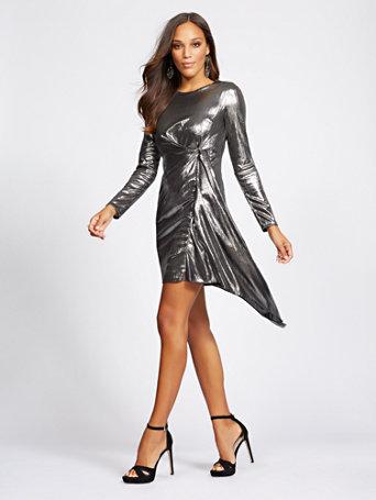 Gabrielle Union Collection   Silvertone Draped Sheath Dress by New York & Company