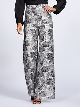 Gabrielle Union Collection   Silvertone Floral Jacquard Palazzo Pant by New York & Company