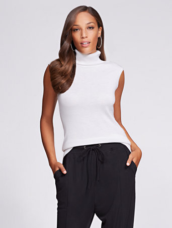eb706686c1dbc1 Ny C Gabrielle Union Collection Sleeveless Turtleneck Sweater White