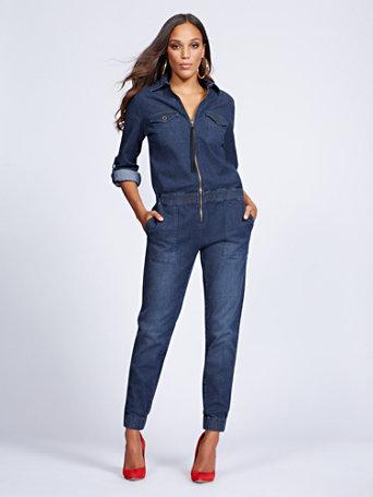 Gabrielle Union Collection   Zip Front Denim Jumpsuit   Blue Dusk by New York & Company