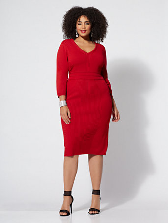 Gabrielle Union Plus Collection   Red V Neck Sweater Dress by New York & Company