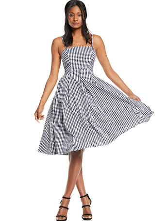 6f17cab18ba NY C  Gingham Fit   Flare Dress