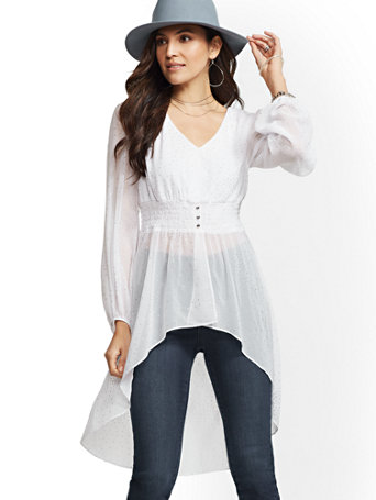Glitter Finish V Neck Hi Lo Blouse by New York & Company