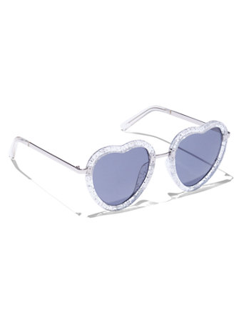 f6d16275e0 NY C  Glitter Heart-Shaped Sunglasses