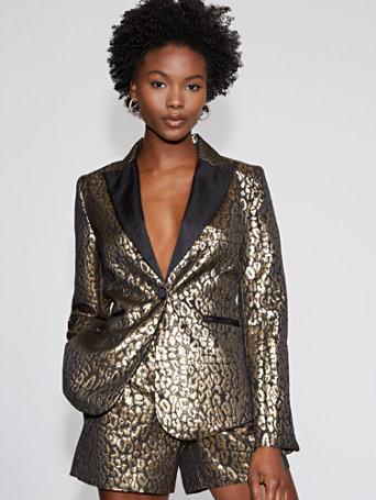 Goldtone Leopard Print Blazer   Gabrielle Union Collection by New York & Company