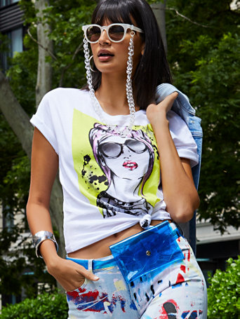 Graffiti Girl Graphic Logo Tee by New York & Company
