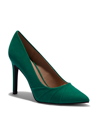 Green Pleated Pump by New York & Company