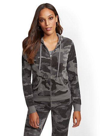 Grey Camo Print Hooded Velour Zip Front Jacket by New York & Company