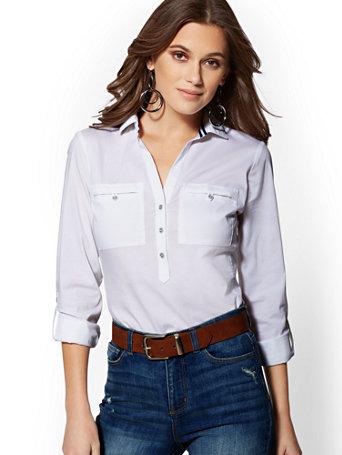 Grosgrain Trim Popover Madison Stretch Shirt   7th Avenue by New York & Company