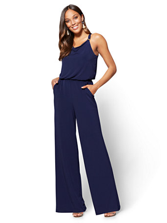 Hardware-Accent Draped Jumpsuit - Tall