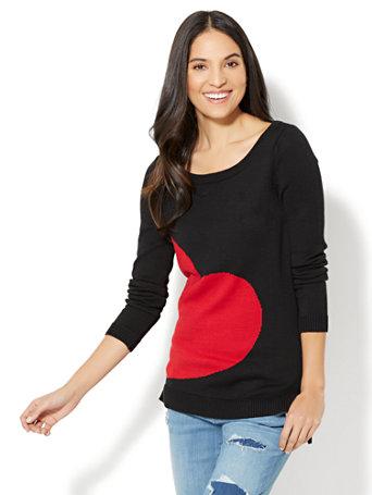 Heart-Print Sweater - Black
