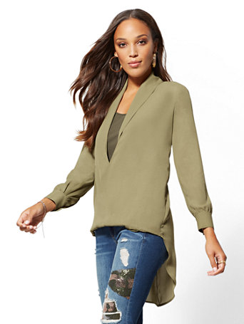 Hi Lo Twist Front Blouse by New York & Company
