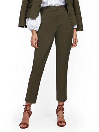 NY&Co Women's High-Waisted Ankle Pants - Modern Fit - All-Season Stretch - 7th Avenue Woodland Green