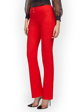 NY&Co Women's High-Waisted Pull-On Slimming Straight-Leg Pants - 7th Avenue Red Harbor