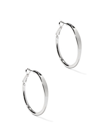 Hoop Earrings Timelessly stylish and endlessly versatile, our polished hoop earrings are a must-have from work to weekends.   overview   Clutch backing.  Earring drop: 1-1/2 inches.  Mixed metal.  Domestic.
