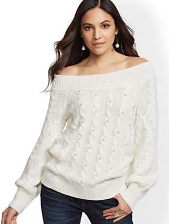 Ivory Faux Pearl Off The Shoulder Sweater by New York & Company