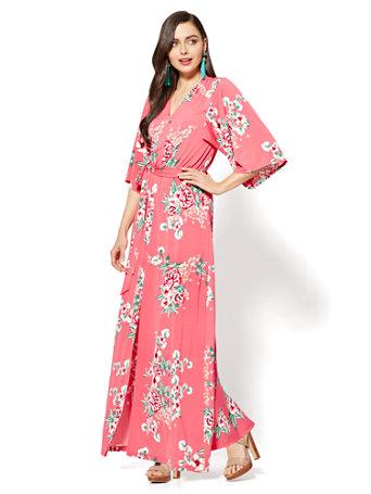 Kimono Maxi Dress - Pink Floral - Petite