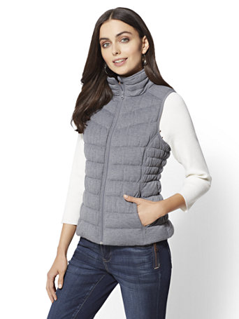 Knit Puffer Vest by New York & Company