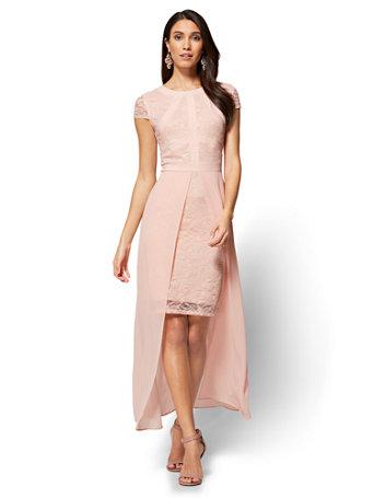 Ny Amp C Lace Amp Chiffon Overlay Maxi Dress