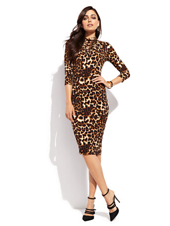 Ny Amp C Lace Up Sheath Dress Leopard Print
