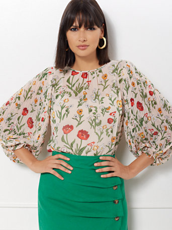 Laila Floral Pleated Sleeve Blouse   Eva Mendes Collection by New York & Company