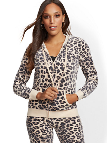 Leopard Print Hooded Velour Zip Front Jacket by New York & Company