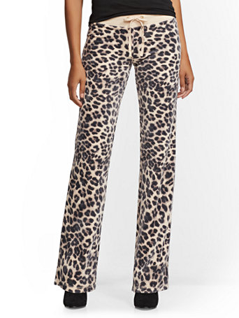 Leopard Print Velour Straight Leg Pant by New York & Company