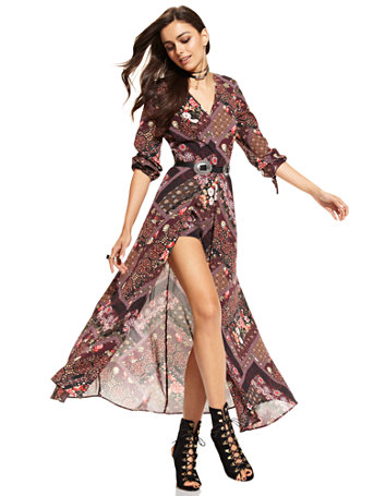 Ny Amp C Maxi Dress With Shorts Print