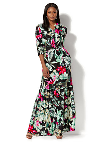 ed413147fd0d NY C  Maxi Shirtdress - Tropical Print