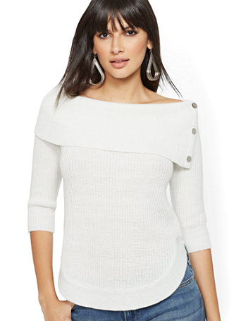 Metallic Off The Shoulder Sweater by New York & Company