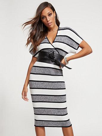 Metallic Stripe Kimono Sweater Dress by New York & Company