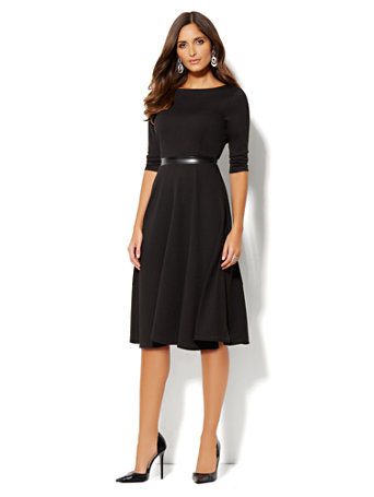 Ny C Mix Knit Midi Fit Flare Dress