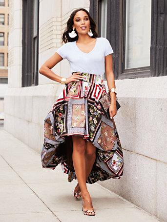 Mixed Print Hi Lo Bubble Skirt by New York & Company