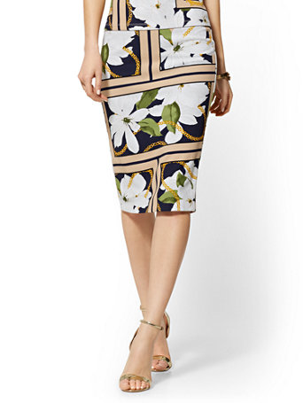 Mixed Print Pull On Pencil Skirt   7th Avenue by New York & Company