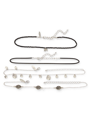 Multi-Row Charm Choker Necklace Set