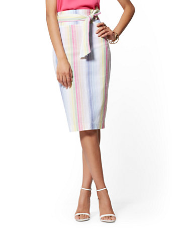 NY&Co Women's Multicolor Stripe Paperbag-Waist Pencil Skirt - 7th Avenue | Size 8 | Spandex/Cotton