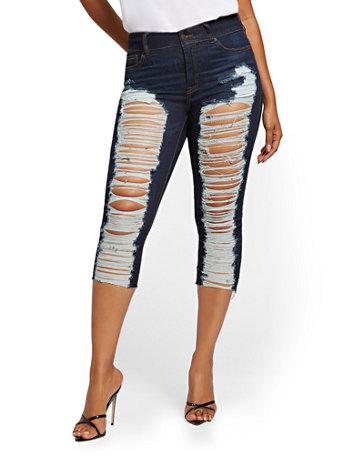 NY&Co Women's Mya Curvy High-Waisted Sculpting No Gap Super-Skinny Capri Jeans - Medium Indigo