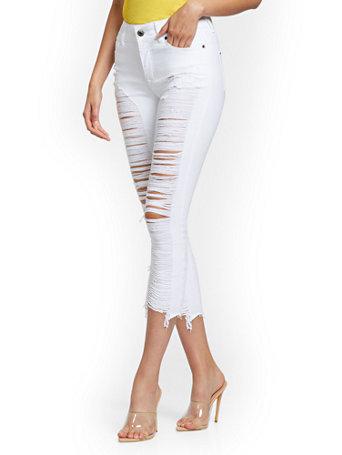 NY&Co Women's Mya Curvy High-Waisted Sculpting No Gap Super-Skinny Capri Jeans White