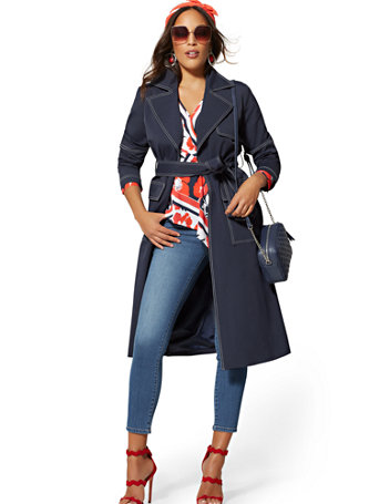 Navy Topstitched Trench Coat