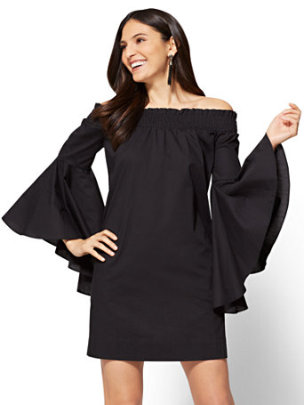 91432d6f039 NY C  Off-The-Shoulder Bell-Sleeve Poplin Dress - Black